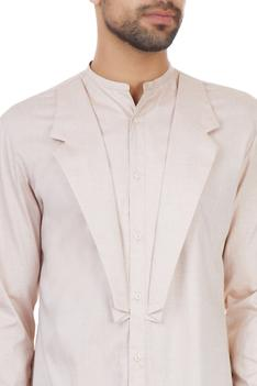 Dusty salmon mock lapel classic kurta