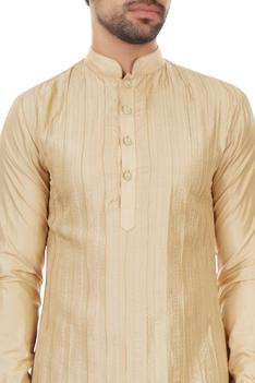 Champagne pintucked kurta with gold detailing