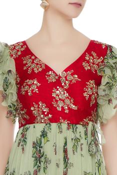 Embroidered & Printed Anarkali Gown