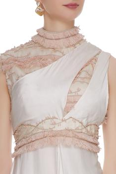 Dusty pink one-shoulder cotton satin cocktail gown