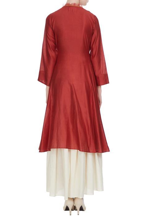 Red chanderi hand embroidered kurta with dupatta & white palazzo pants