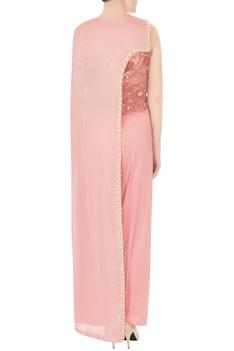 Powder pink crepe georgette draped skirt with asymmetric cape