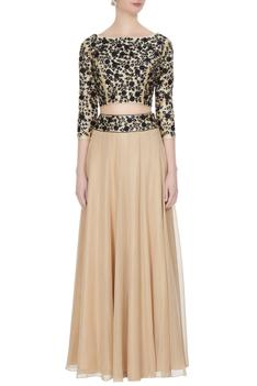 Beige georgette & silk dori work blouse & skirt