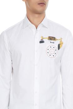 White pure cotton shirt in antique telephone print