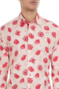 Beige cotton shirt in pink rose print
