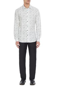 White linen abstract printed shirt