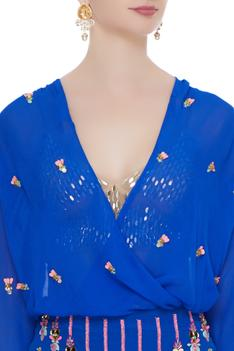 Electric blue 3D rose embroidered & sequin work pencil skirt with bralette & bodysuit