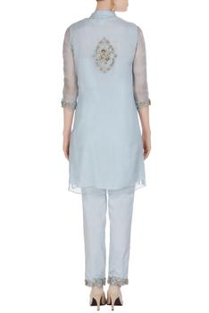Organza silk fitted tunic with cigarette pants