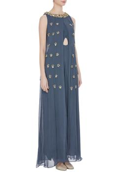 Georgette bead & sequin layered jumpsuit