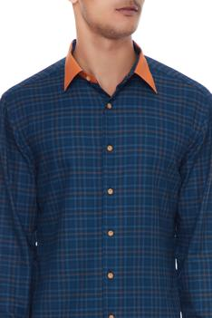 Green & orange cotton chequered shirt