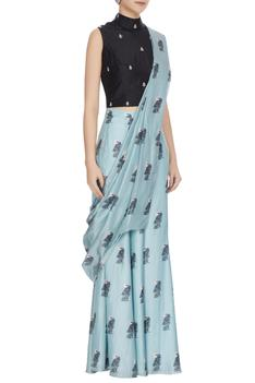Teal blue concept saree with attached pants, drape & blouse