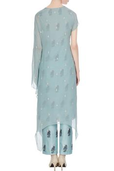 Teal blue kardhana embellished asymmetric kurta with cigarette printed pants
