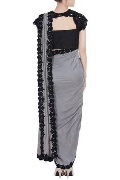 Grey embroidered pre draped saree with pants.