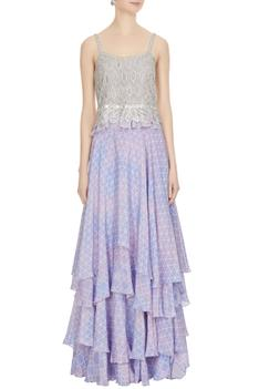 Lilac embroidered geometric top with printed skirt