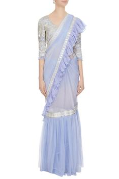 Violet embroidered blouse with net ruffle detail frilly saree