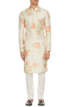 White & orange floral printed kurta with churidar