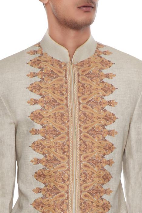 Beige & ivory kashmiri embroidered jacket