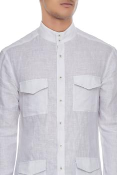 White linen patch work shirt