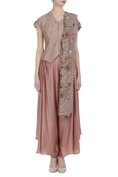 Hand embroidered & sequin jacket with palazzos & dupatta