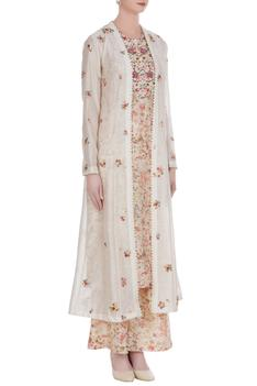 Floral embroidered jacket with inner kurta & pants