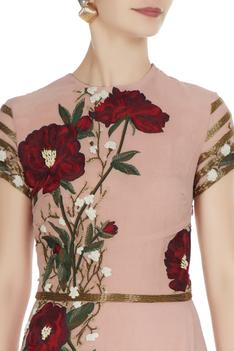 Pink embroidered gown with sequence waist-band