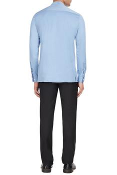 Blue cotton long sleeve shirt