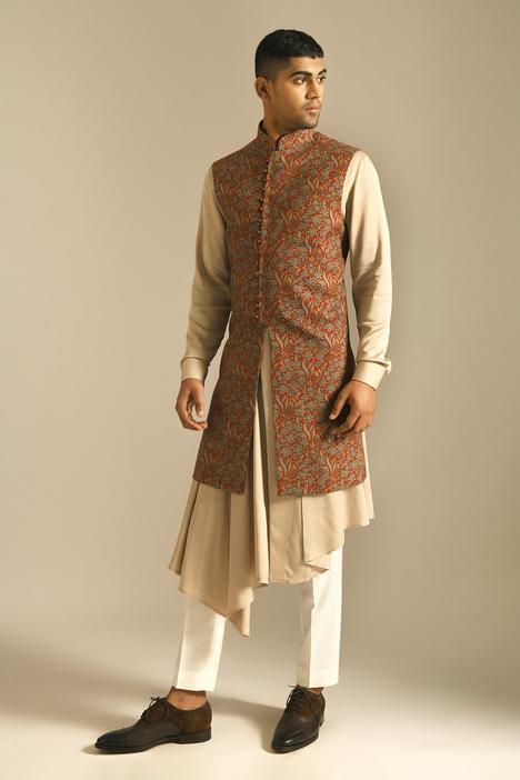 Chanderi Long Nehru Jacket