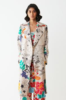 Floral Print Trench Jacket