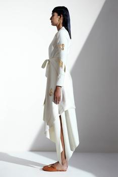 Asymmetric Draped Wrap Jacket