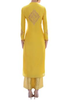 Canary yellow embellished kurta set