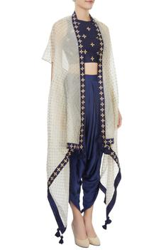Navy blue crop top and dhoti set with ivory over layer