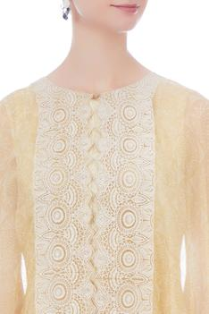 Pale yellow embroidered organza kaftan