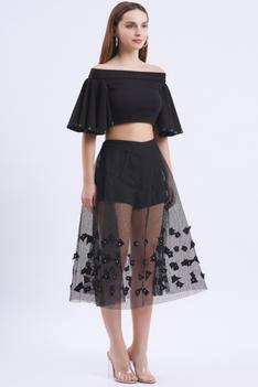 Embellished Crop Top with Skirt