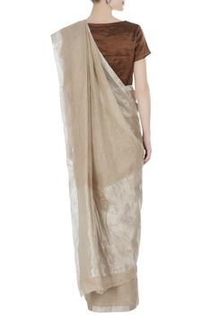Beige linen hand woven saree with silver border & unstitched blouse
