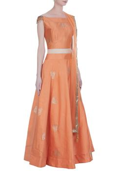 Embroidered lehenga with blouse and dupatta.