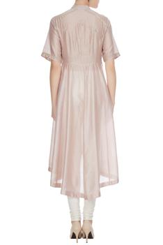 Champagne sequin & bead hand-embroidered floral kurta