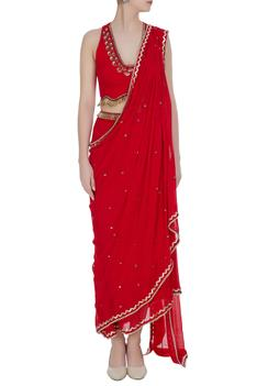 Sequin embroidered pre-draped saree with halter blouse