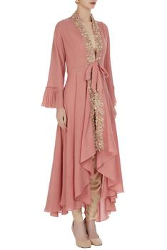 Pink jacket with ivory crop top and dhoti pants