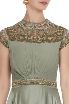 Embroidered Flared Gown