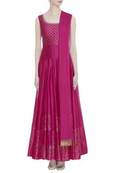 Chanderi Silk Anarkali with Dupatta