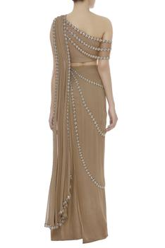 One Shoulder Blouse With Pre-Draped Saree