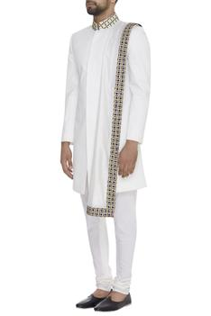 Embroidered Sherwani With Churidaar & Stole