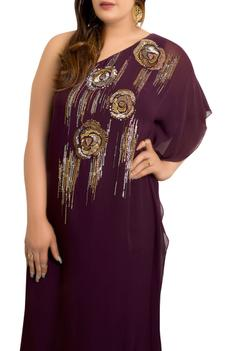 One-shoulder kaftan gown with sequin