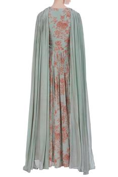 Printed gown with drape dupatta