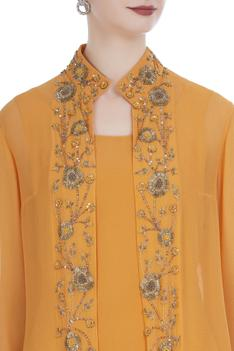 Embroidered open jacket with kurta and palazzo pants