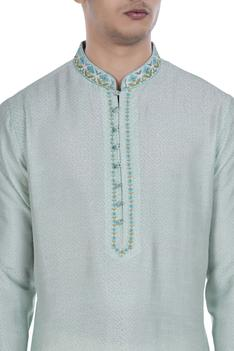 Block printed tussar silk kurta set