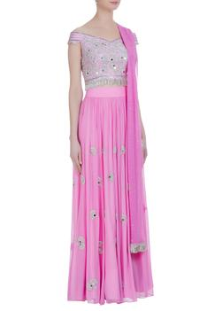 Pleated lehenga with off-shoulder sequin blouse & net dupatta