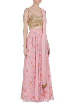 Floral printed lehenga with sequin blouse & dupatta