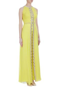 Mirror & pearl embroidered long kurta with palazzos
