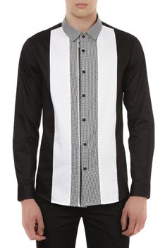 Panel style houndstooth shirt